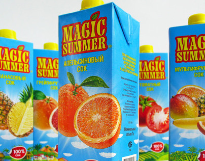 "Redesign of ""Magic Summer"" juice packaging by AVC"
