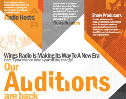 Wings Radio 2013 Auditions Poster