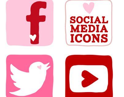 Valentines Day Social Media Icon Set