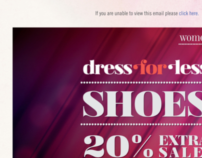 Newsletter for an online dress brand