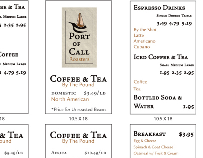 Port of Call Roasters: Menu Boards