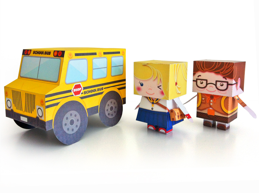 Tara Students Paper Toy, DIY kids and school bus