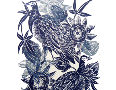 Peahens and Passionflower Lino Cut Prints