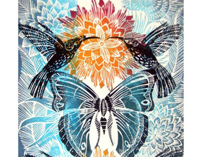 Humming Bird Lino cut prints Various Colours