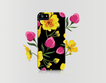 Flower botanical illustration. Case design.