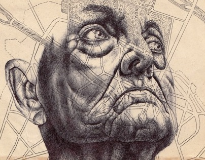Near misses of nostalgia Bic biro drawing on 50s map