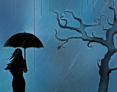 Walk in the rain - Digital painting