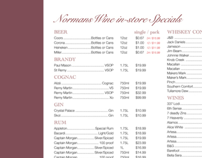 Norman's Wine List