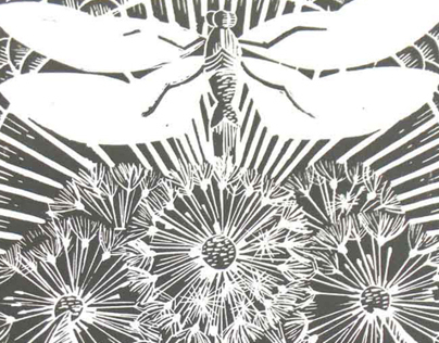 Dragonfly and Dandelions Lino Cut Prints