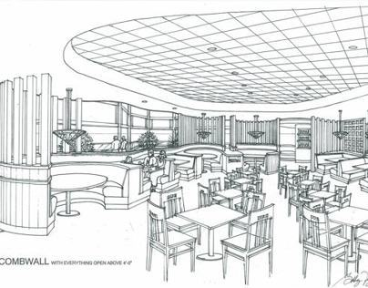 RESTAURANT DESIGN-3D INK RENDERING