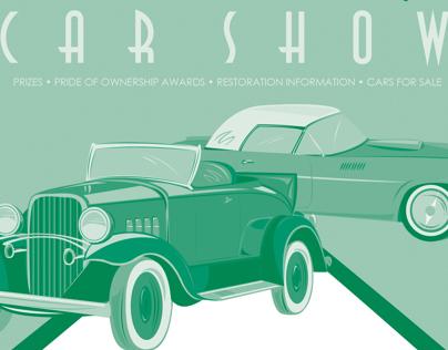 Vintage Car Show ad and illustration