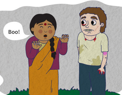 Illustrations - Indian Aunty