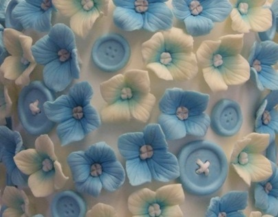 Blue Button Wedding Cake