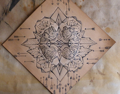 4 Skull & arrows (TATTOOED ONTO LEATHER)