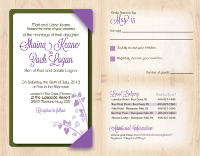 Wedding Invitation for Shaina Keane and Zach Logan