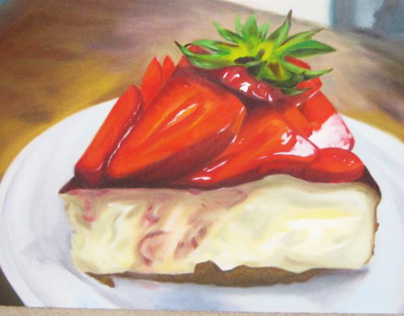 Strawberry Cheesecake Oil Painting