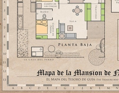 Mapa de la Mansion de Nacion - Treasure Hunting Map
