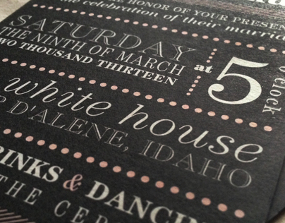 Charcoal and Pink Wedding Invitations