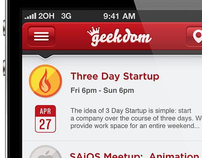 Geekdom App - First Screens