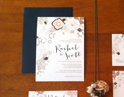 Wedding Invitations - Rustic Flowers