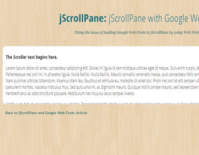 jScrollPane and Google Web Fonts