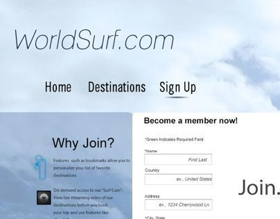 WorldSurf.com design mock-up