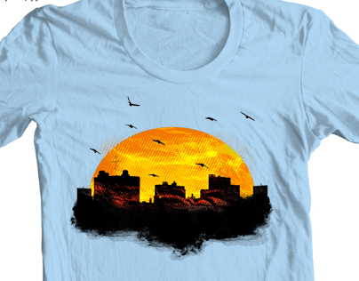 Cool Sunset - City Skyline - Cute Birds T Shirt Design