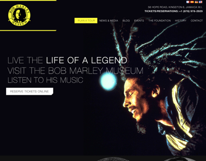 Bob Marley Museum Website Mock Up