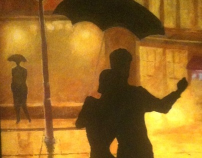 Mural.Work in progress. Tango in the rain