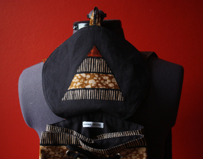 African Print Backpack, Stripes