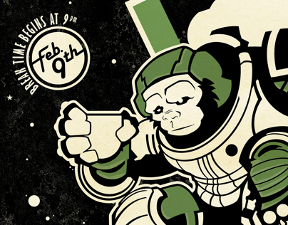 Birthday Invite - Space Monkey