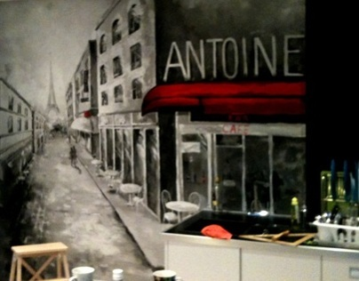 Mural in the Kitchen. Paris Street.