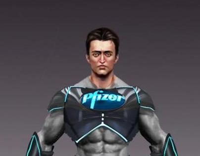 pfizer indian superhero concept art