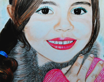 Niece: drawing made by hand with colored pencil