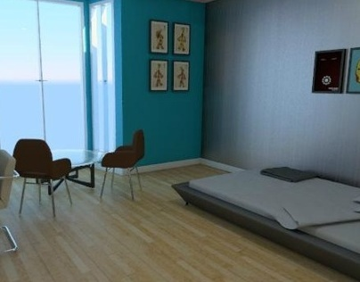 Simple 1 bedroom apartment (Bedroom)