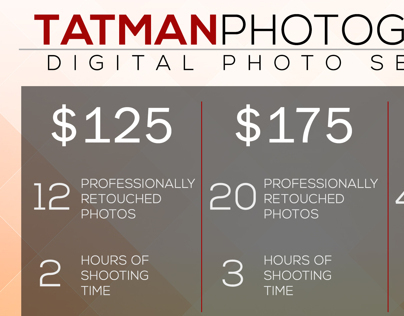 Tatman Photography Pricing Sheet Flyer