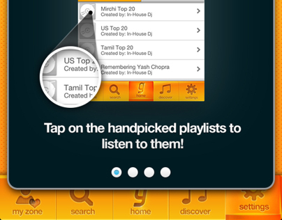 Gaana music app: Tutorials, coach marking