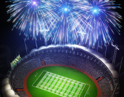 Stadium and fireworks