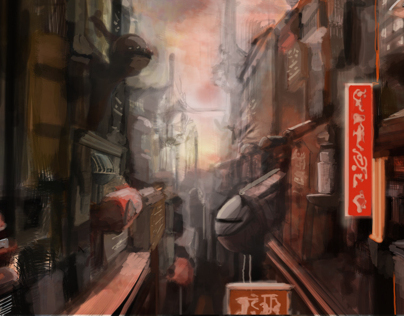 digital painting sceince fiction city