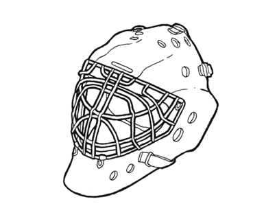 Old mask, SPARTAK hockey club
