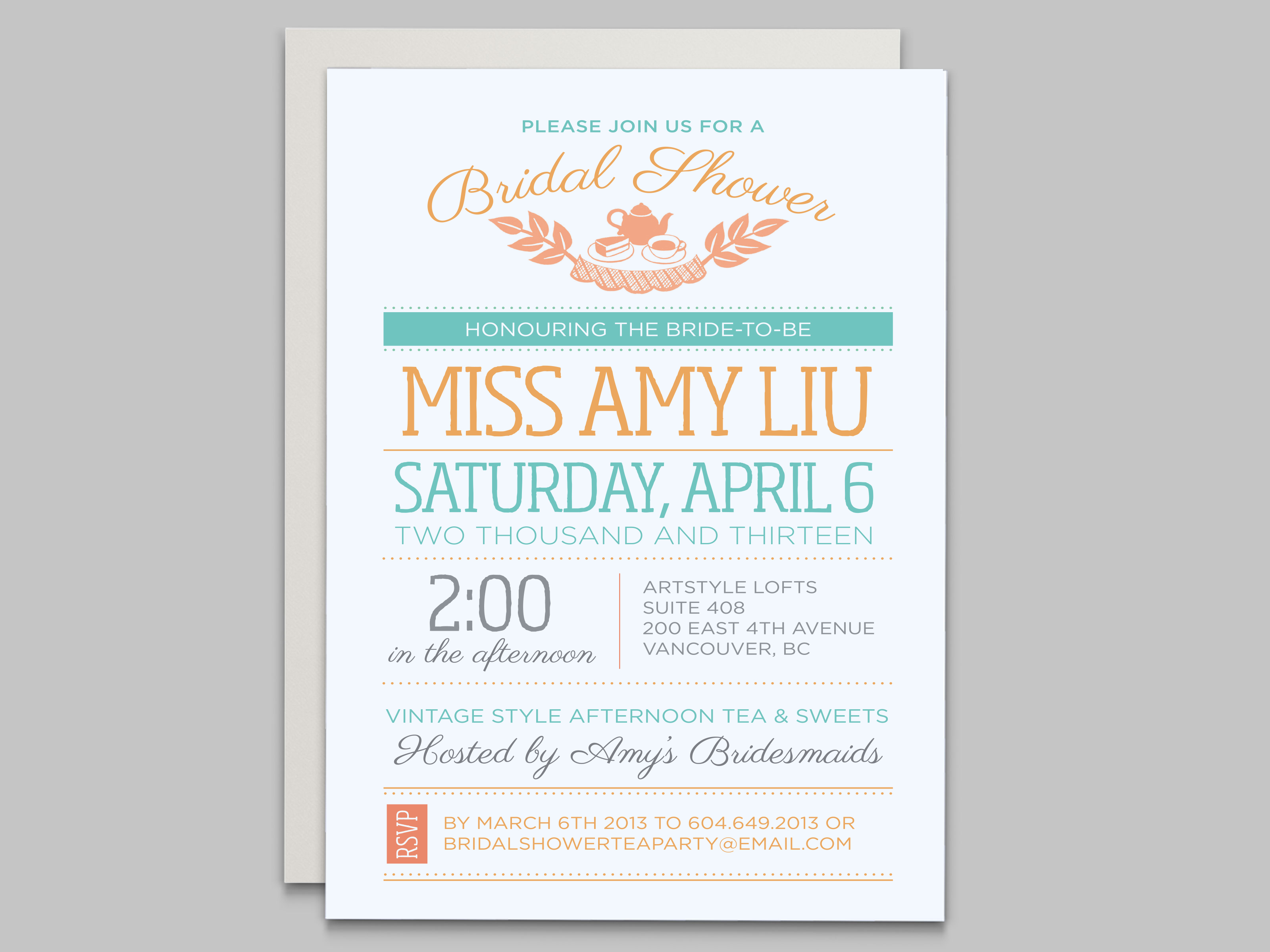 Bridal Shower invitation & party decor