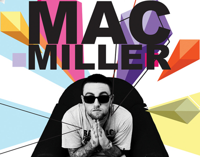 Mac Miller UMD Concert Poster and Ticket Design