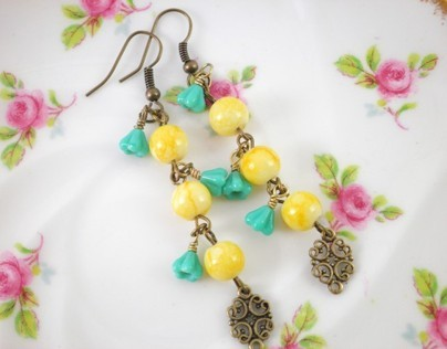 Yellow Bead Turquoise Blue Baby Bell Flowers Earrings