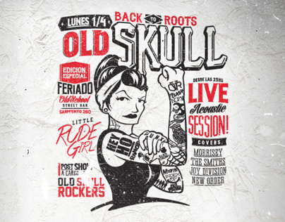Old Skull . Little Rude Girl flyer