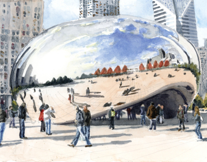 Millenium Park Bean Watercolor