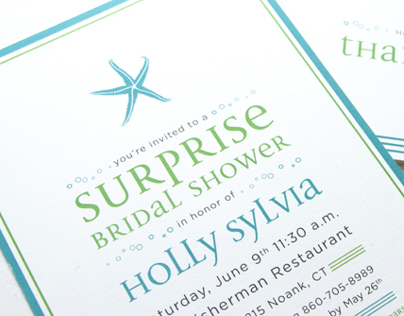 Custom Starfish Bridal Shower Invitation