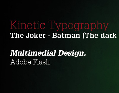 Kinetic Typography - The Joker (Batman - The Dark Night