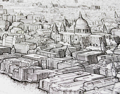 Panoramic pen drawing of London (work in progress)