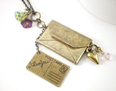 Envelope Locket and I Love You Postcard Charm Necklace