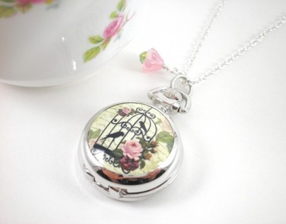 Cottage Chic Silver Watch Locket Necklace